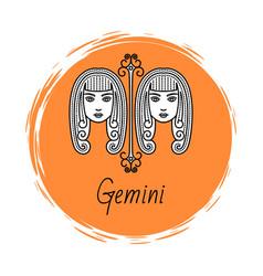Gemini zodiac sign twins horoscope astrology vector