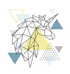 geometric unicorn silhouette on triangle vector image
