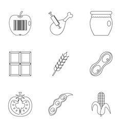 gmo free icon set outline style vector image