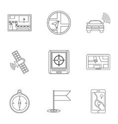 GPS icons set outline style vector image