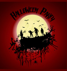 Halloween partyzombie cemetery creepy trees and a vector