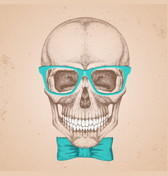 Hand drawing hipster skull on grunge background vector