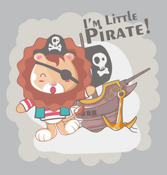 hand drawn cute pirate lion for kids vector image