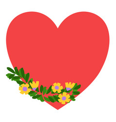 hand drawn flowers and leaves on red heart vector image
