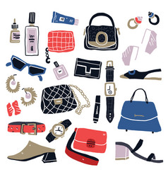 hand drawn woman items and accessories vector image