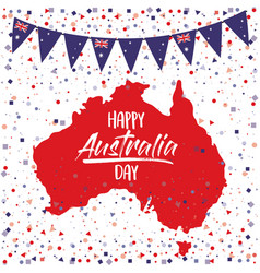 happy australia day poster with australia map in vector image