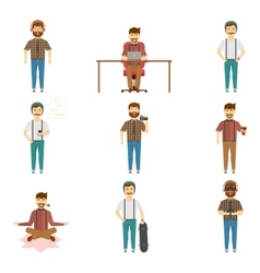 Hipster Set Of Characters vector