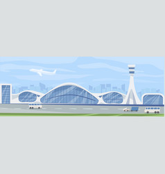 horizontal landscape with modern airport building vector image