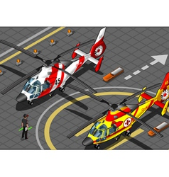 Isometric Emergency Helicopters in Front View vector