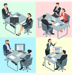 isometric flat design office people vector image