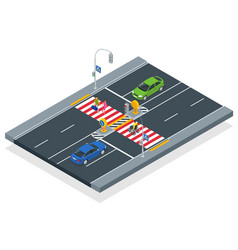 isometric people cross road at a pedestrian vector image
