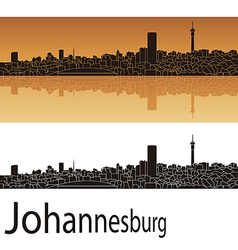 Johannesburg skyline in orange background vector