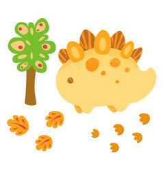 kawaii dinosaur and traces vegetation foliage vector image