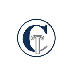 Letter c and law pillar logo design vector