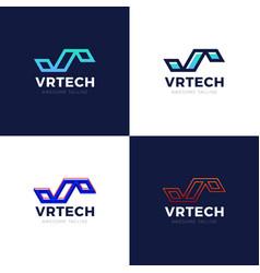letter vr logo set graphic branding element vector image