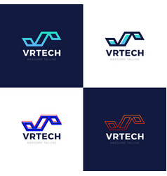 letter vr logo set graphic branding letter element vector image