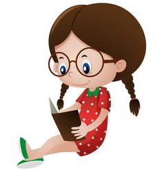 Little girl reading storybook vector