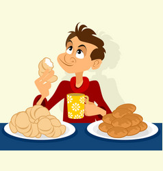 man with pies and croissants vector image