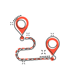 Move location icon in comic style pin gps cartoon vector
