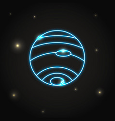 Neon planet neptune icon in thin line style vector