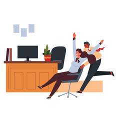office worker pushing chair with seated colleague vector image