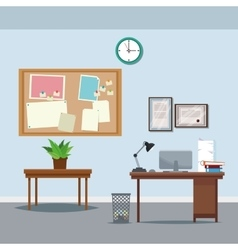 Office workspace desk table potted plant clock vector