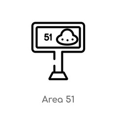 Outline area 51 icon isolated black simple line vector