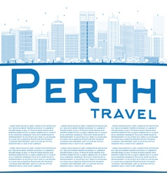 Outline Perth skyline with blue buildings vector