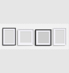 Photo frames isolated realistic black white vector