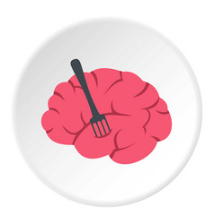 Pink brain with fork icon circle vector