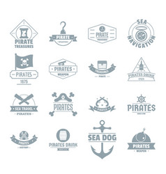 Pirate logo icons set simple style vector