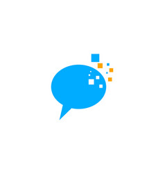 pixel chat logo design template vector image