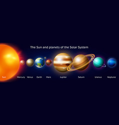 Planets in solar system moon and the sun mercury vector