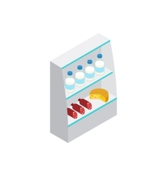 Products in supermarket fridge icon vector image