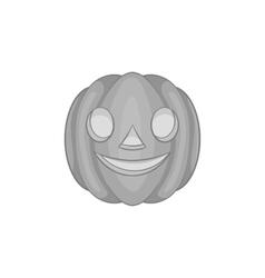 Pumpkin lantern icon black monochrome style vector