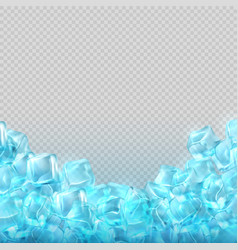 Realistic ice cubes isolated on transparent vector