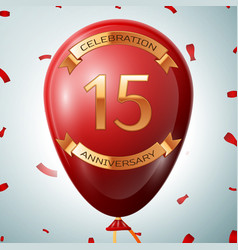 Red balloon with golden inscription fifteen years vector