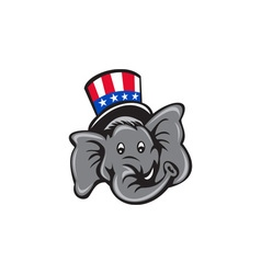 Republican Elephant Mascot Head Top Hat Cartoon vector image