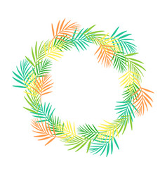 round frame of tropical leaves isolated vector image