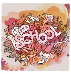 School hand lettering and doodles elements and vector image