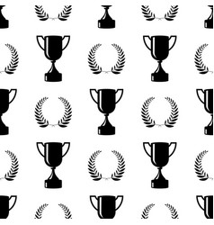 Seamless awards pattern black cups on white vector