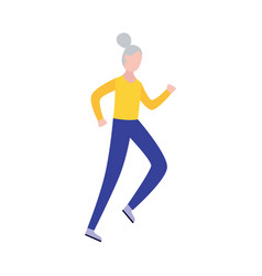 Senior woman running taking care health flat vector