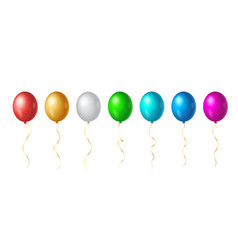 set flight up rainbow color helium balloons on vector image