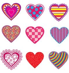 set multicolor hearts vector image