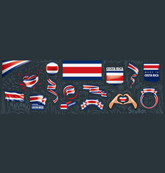 set national flag costa rica in vector image