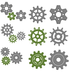 Set of Gears with Six Different Gears vector image