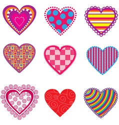 Set of multicolor hearts vector image
