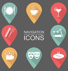 Set of navigation icons Flat design Public places vector image