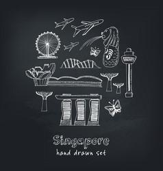 set singapore hand drawn icons vector image