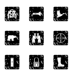 Shooting at animals icons set grunge style vector image